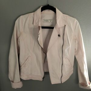 baby pink denim biker jacket